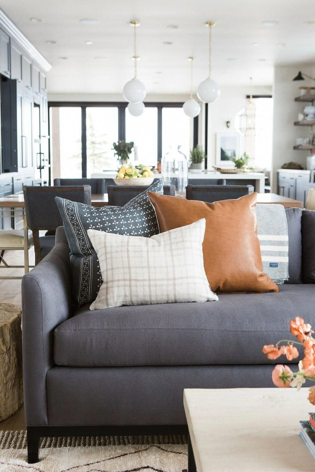 Shop sawyer hygge throw in gray cognac leather watercolor plaid birch and more pillowoncouch also blue  white house remodeling pinterest rh