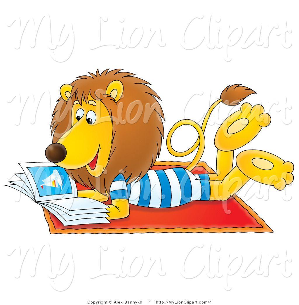 of a summer lion reading a book on a beach towel by alex bannykh rh pinterest co uk summer reading clipart black and white summer reading clipart 2016