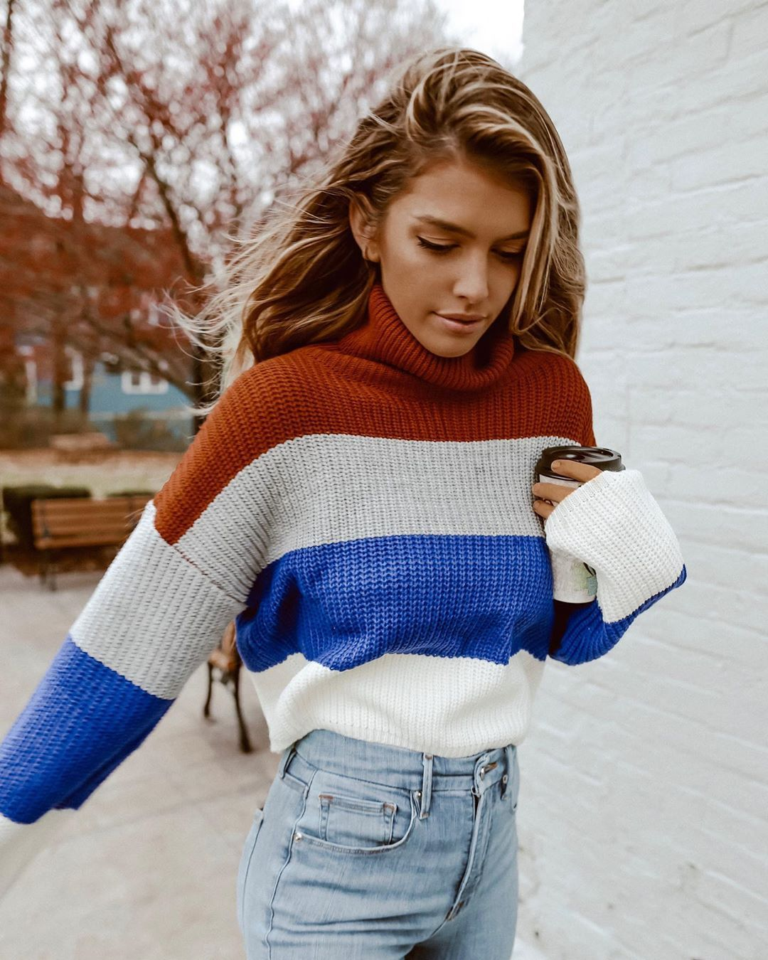"Kelsey Floyd on Instagram: ""I love sweater weather until it turns into 'my face hurts from the cold' weather. ️ This colorblock turtleneck was just released on…"""
