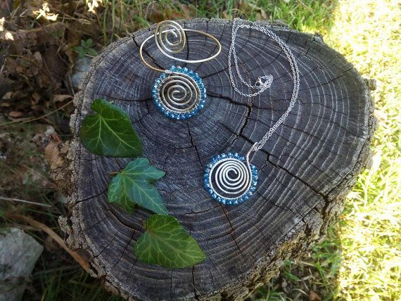 Spiral  Necklace and bracalet by LughAislingCelticArt on Etsy