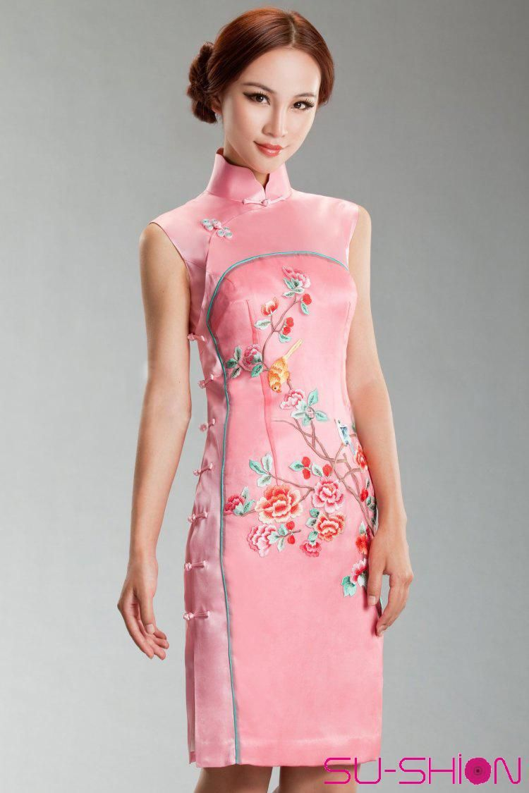Pink silk with embroider cheongsam dress_Traditional qipao_Oriental ...
