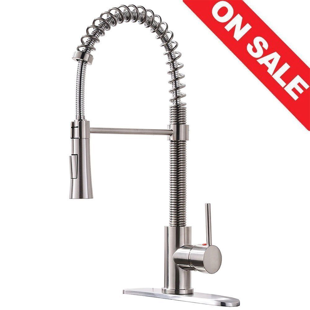 KINGO HOME Lead Free Modern Stainless Steel Single Handle Pull Down ...