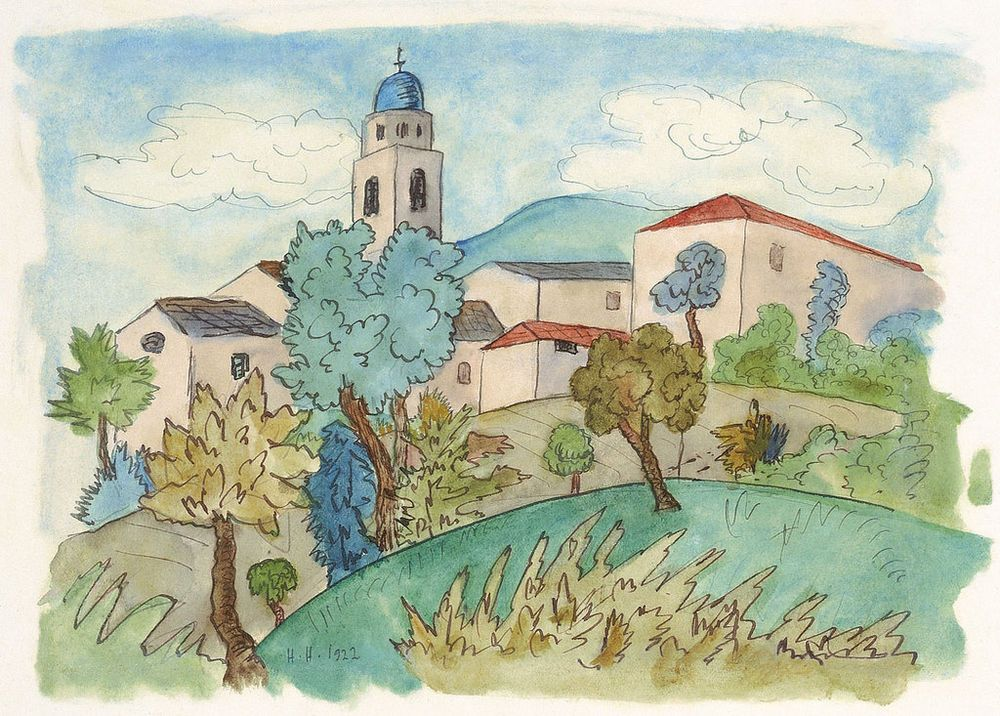 Hermann Hesse Tessiner Dorf Im Sommer Watercolour And Indian