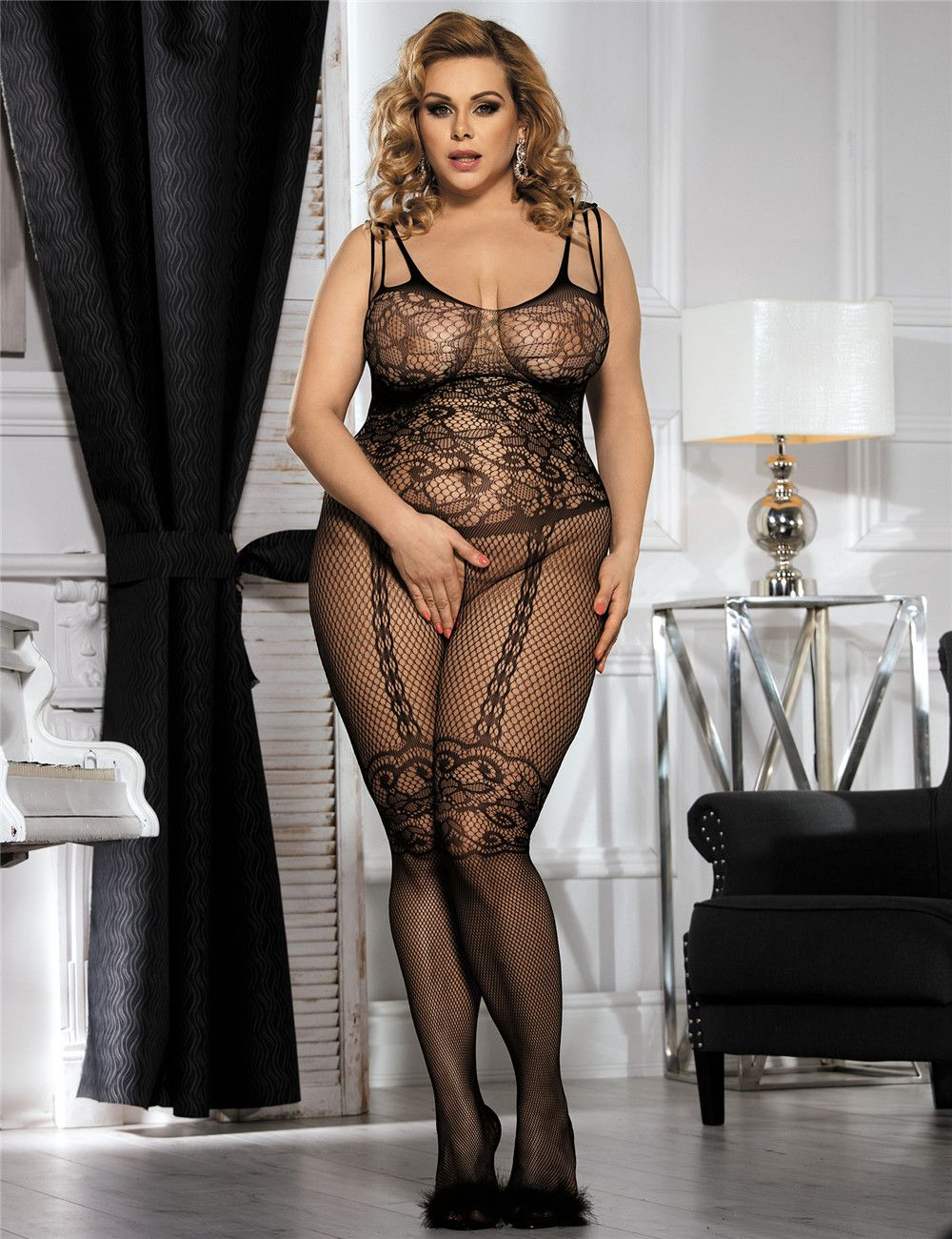 f6d4de7fa02 Feel ultra sexy in this sassy body stocking teddy. Free size and up to plus  size  Free SG Shipping in weeks. Lace Body