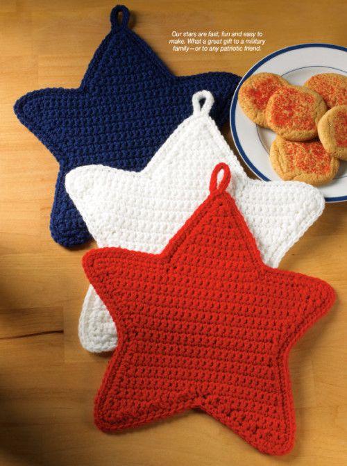 X660 Crochet MOTIF UNIQUEMENT Patriotic Stars Pot Holder Maniques Patter   – Crochet