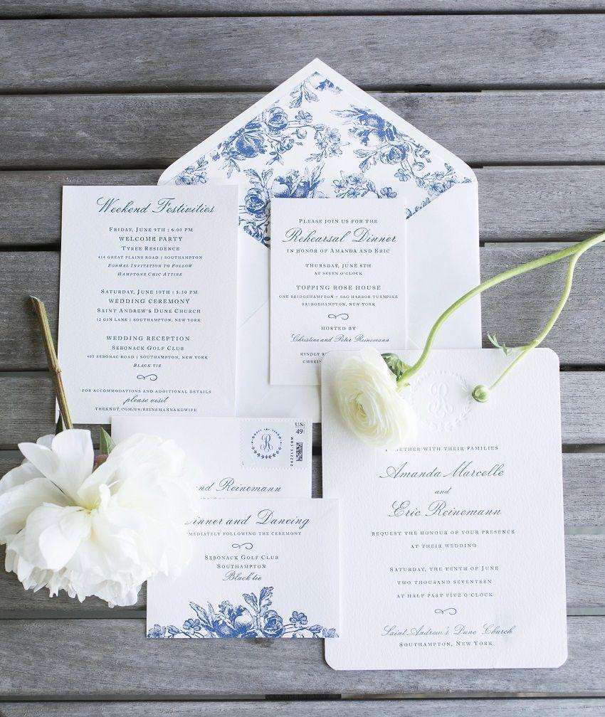 Classic Blue and White Southampton Wedding | Invitations ...