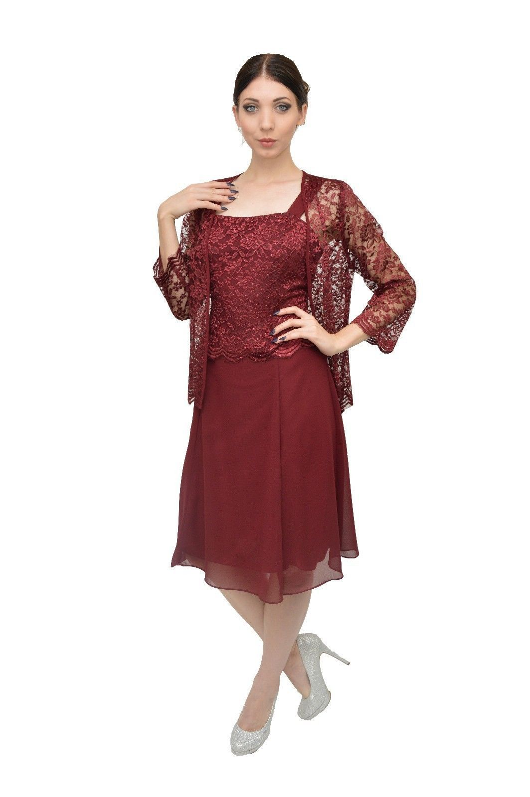 56a720fa2b6 Short Mother Of The Bride Dress With Jacket Plus Size Formal Cocktail Church