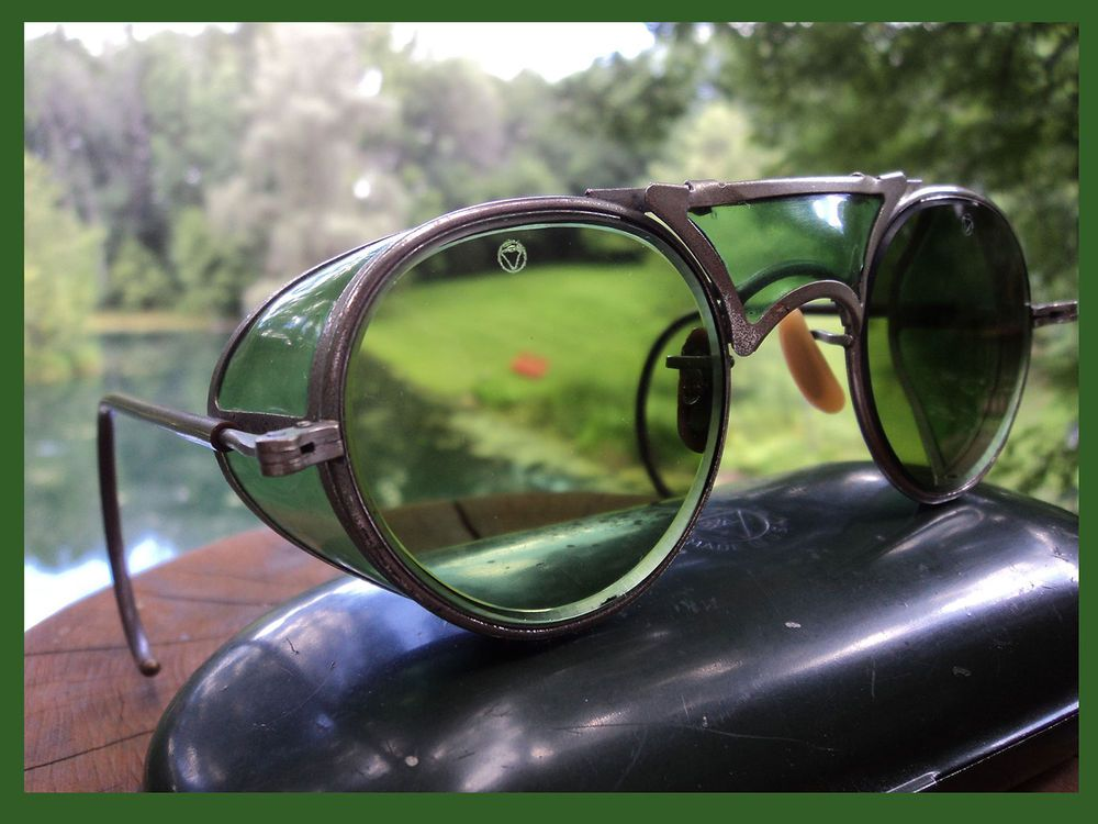 VTG BAUSCH & LOMB GREAT PATINA GOGGLES SUN GLASSES SAFETY
