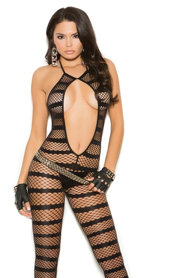 1635f6114 Elegant Moments Opaque   Net Striped Bodystocking. Turn up the heat in your  bedroom wearing this Opaque and diamond net striped bodystocking with open  ...