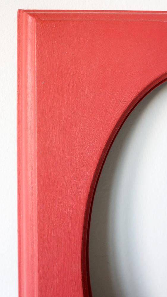 Marco de madera decorado a mano ovalado rojo vintage antiguo | Marco ...