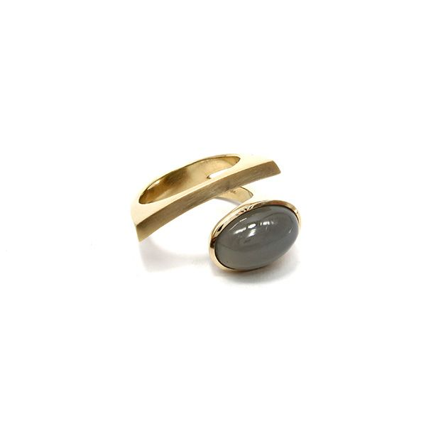 Popular Angela Hubel geel gouden ring uLaguna oval u met grijze maansteen bij Annexs juwelier