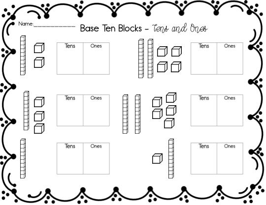 Base Ten Kindergarten Worksheets