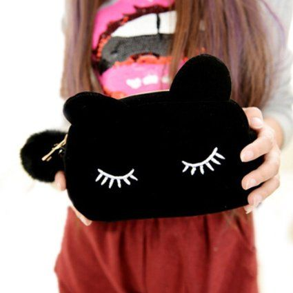 Cute Cartoon Cat Cosmetic Makeup Storage Bag Pen Pencil Pouch Case (Black)