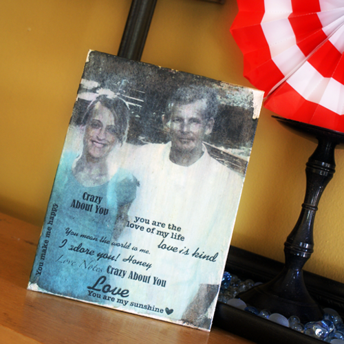 Mod Podge Photo to Canvas with text using Mod Podge's new craft product line  @PlaidCrafts
