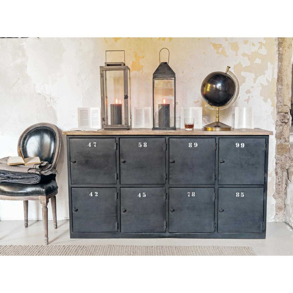 anrichte im industrial stil aus metall mit f chern b 160. Black Bedroom Furniture Sets. Home Design Ideas