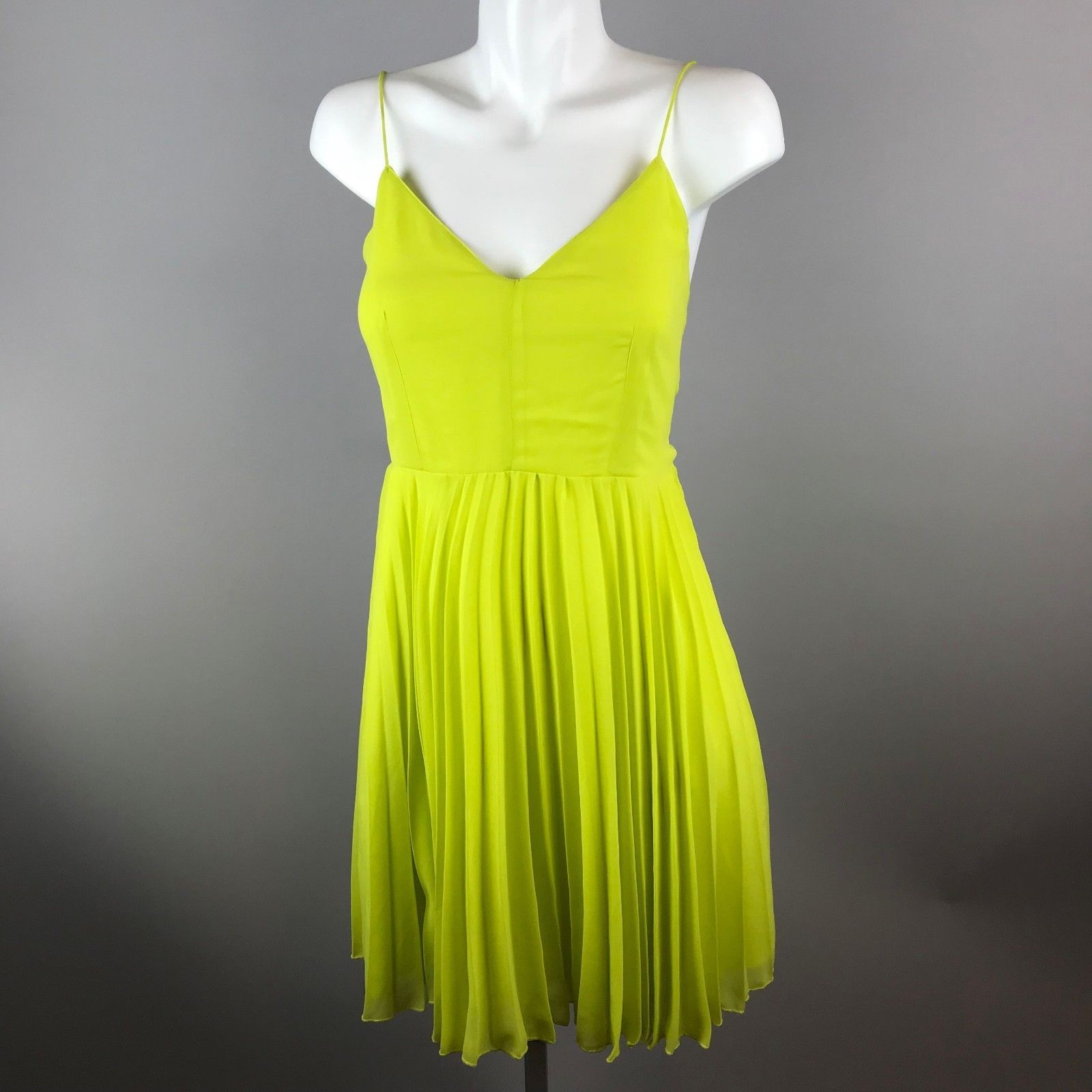Asos womens neon green strappy pleat dress polyester size v