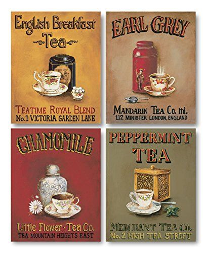 Tea Time! Vintage Tea Signs; Earl Grey, English Breakfast, Chamomile and Peppermint; Four 8 x 10 Prints Gango Home Decor http://www.amazon.com/dp/B00VVGHC5I/ref=cm_sw_r_pi_dp_9zbXwb1S0SJHB