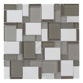 Another Possible Countertop Tile Option Allen Roth Essentials Modern Silver Stone And Gl Mosaic Indoor Outdoor Wall Common X Actual