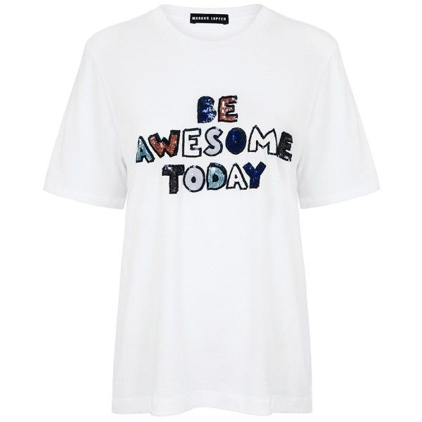 Markus Lupfer - Be awesome today sequin alex tee (€245) ❤ liked on Polyvore featuring tops, t-shirts, sequin top, white sequin top, embellished tops, sequin embellished top and markus lupfer