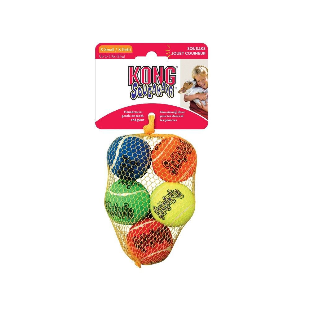 Kong Squeakair Tennis Ball Dog Toy Xs 5ct Dog Toys Fetch