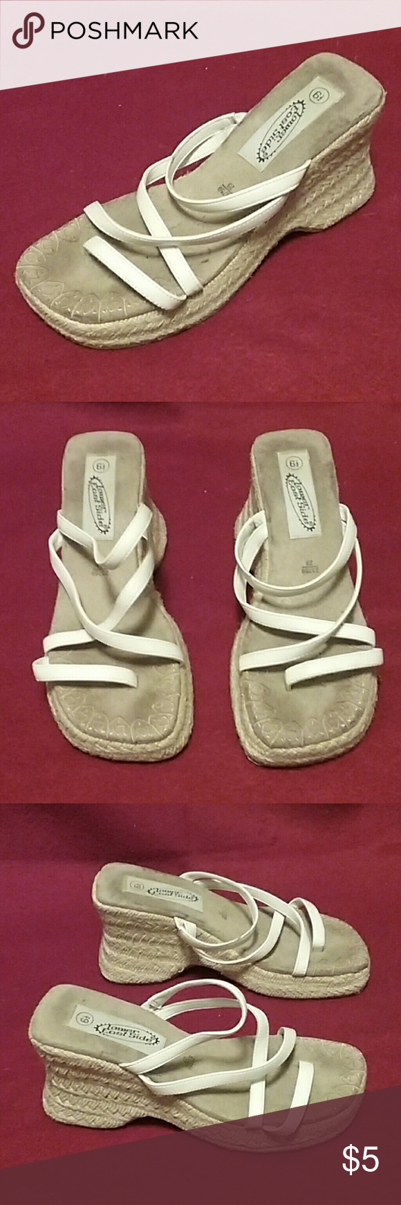 White wedge shoes, size 6.5 White wedge shoes, size 6.5 Lower East Side Shoes