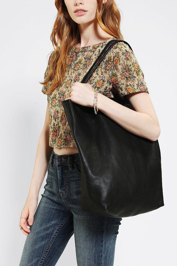 BAGGU Basic Leather Tote Bag $160. and the shirt too.