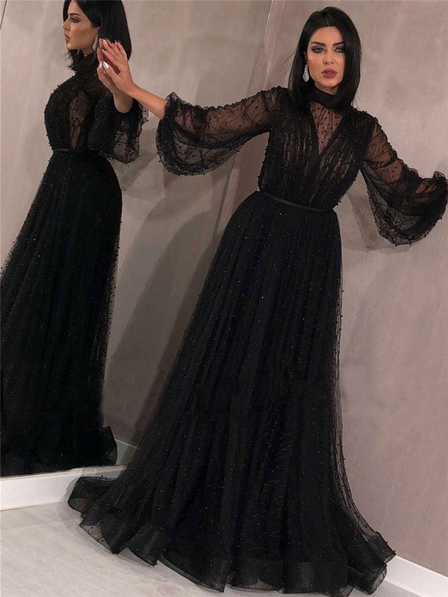 إشتري فستان نسائي طويل بأكمام واسعه بتصميم انيق فساتين السهرة في Jolly Chic الدفع عند الاستلام High Neck Long Sleeve Cheap Prom Dresses Prom Dresses