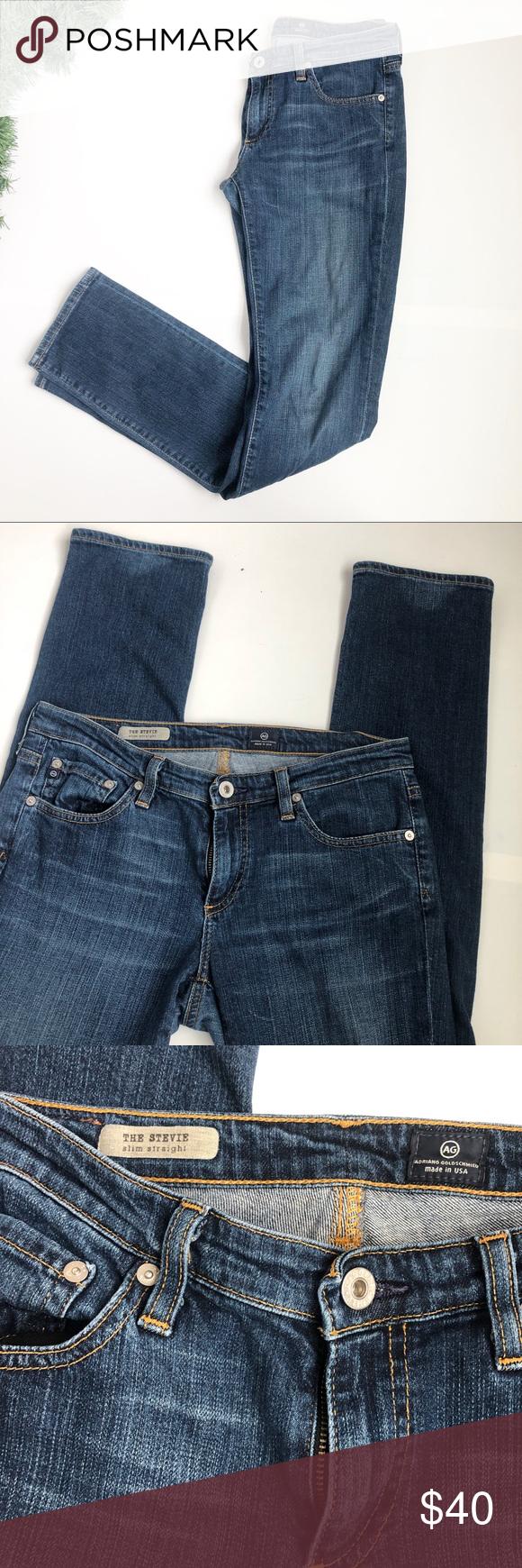 "420c9756abe Adriano Goldschmied AG ""The Stevie""   28R Adriano Goldschmied AG The Stevie  Slim Straight Jeans Size: 28R Waist: 14' Thigh width: 7.5' Waist to zipper:  5' ..."