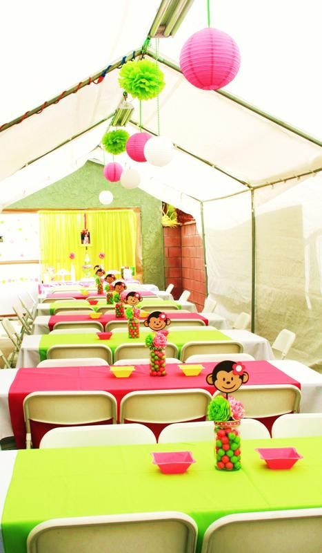 Monkey Baby Shower Table Decorations Going Bananas over a Pink Mod