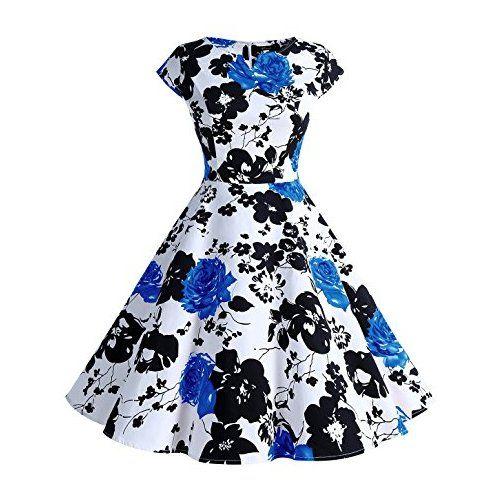 Wedtrend Damen 50er Hepburn Stil Vintage Cap Sleeves Dot Einfarbig ...