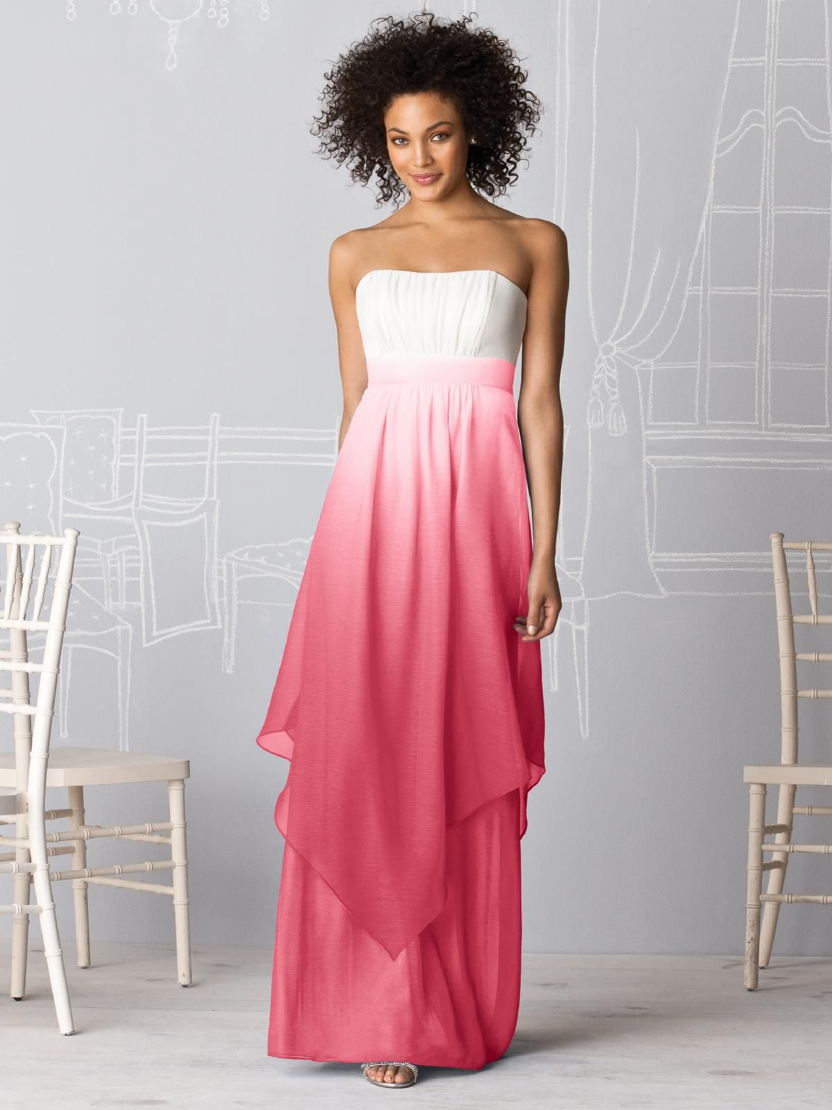 After six bridesmaid gown by the dessy group available at little