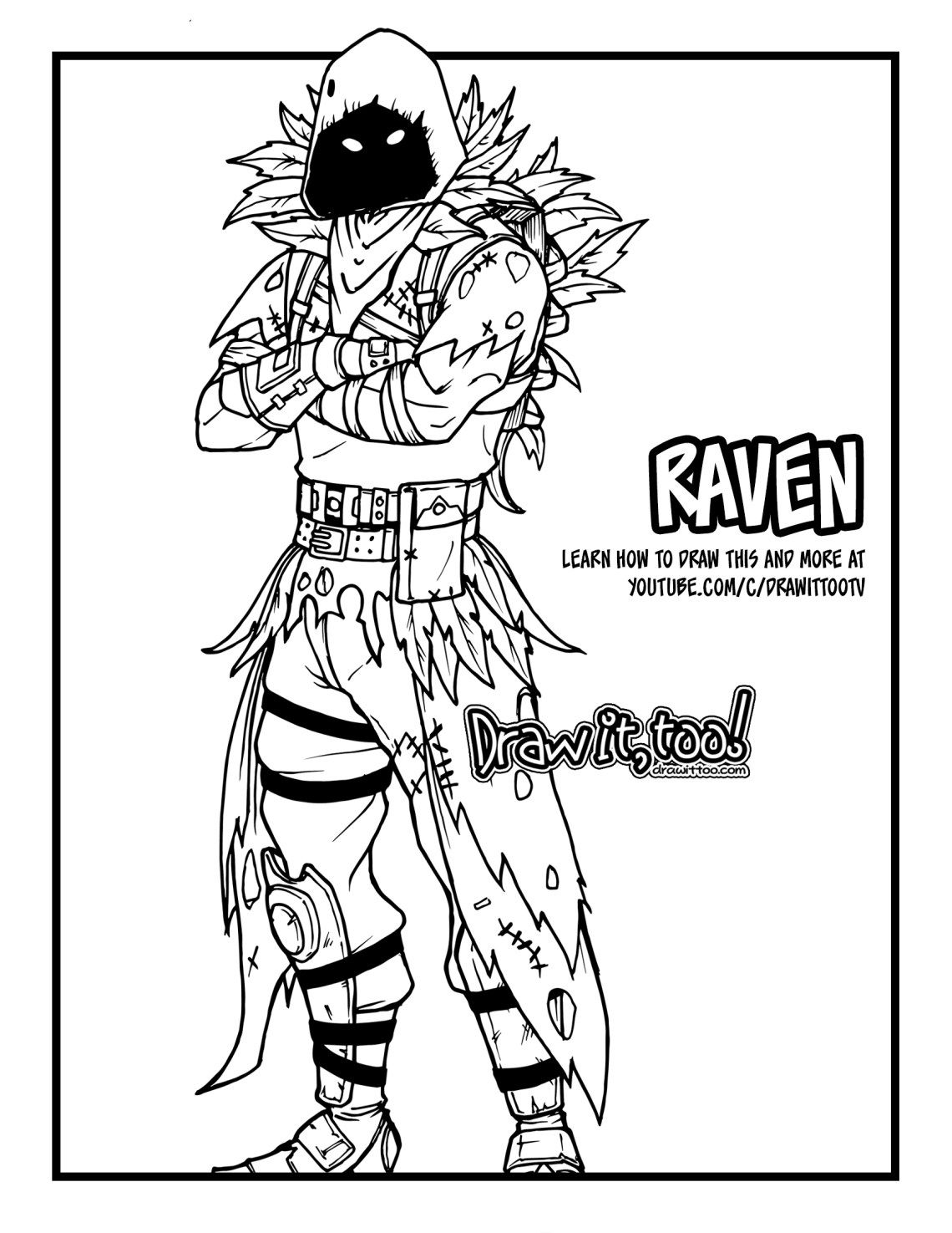 How To Draw Raven Fortnite Battle Royale Drawing Tutorial