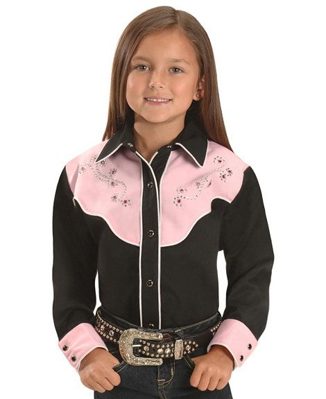 031760a1241c Red Ranch Girls' Fancy Embroidered Yoke Western Shirt - 5-16 | Red ...