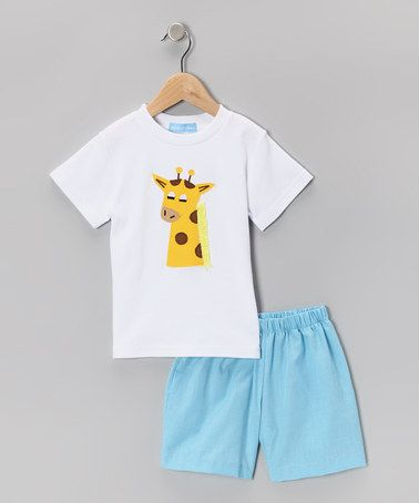 Take a look at this White Giraffe Tee & Blue Shorts - Infant & Toddler by Monday's Child on #zulily today!