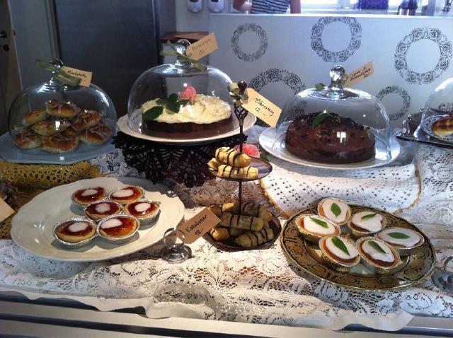 Yummy home baked cakes at the Swedish Castle cafe Bjärka Säby, outside Linköping in Sweden