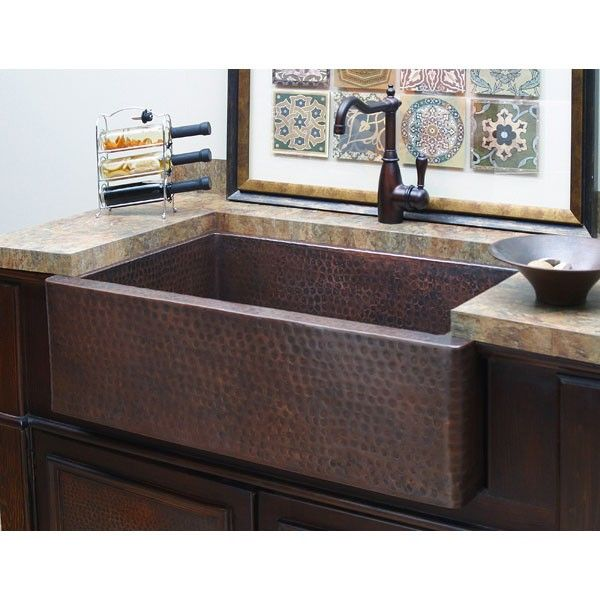 Hampton 33 Inch Apron Farmhouse Sink Copper Farmhouse Sinks Tuscan Kitchen Copper Kitchen Decor