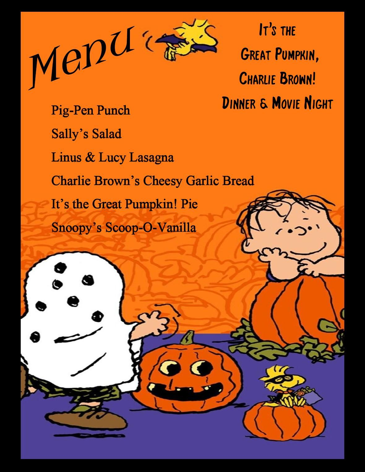 It's the Great Pumpkin, Charlie Brown! Dinner & Movie night ...