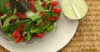 BLT Salad with Avocado Ranch #avocadoranch Lightened Bacon Lettuce Tomato (BLT) Salad with Avocado Ranch www.fooddonelight.com #avocadoranch