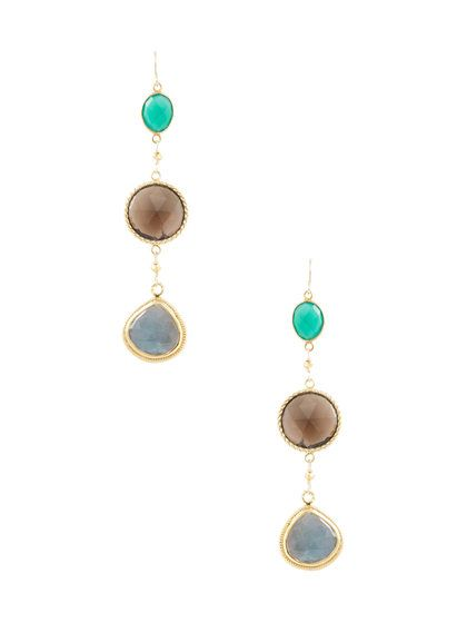 Gemstone Mix Drop Earrings by Alanna Bess Jewelry at Gilt
