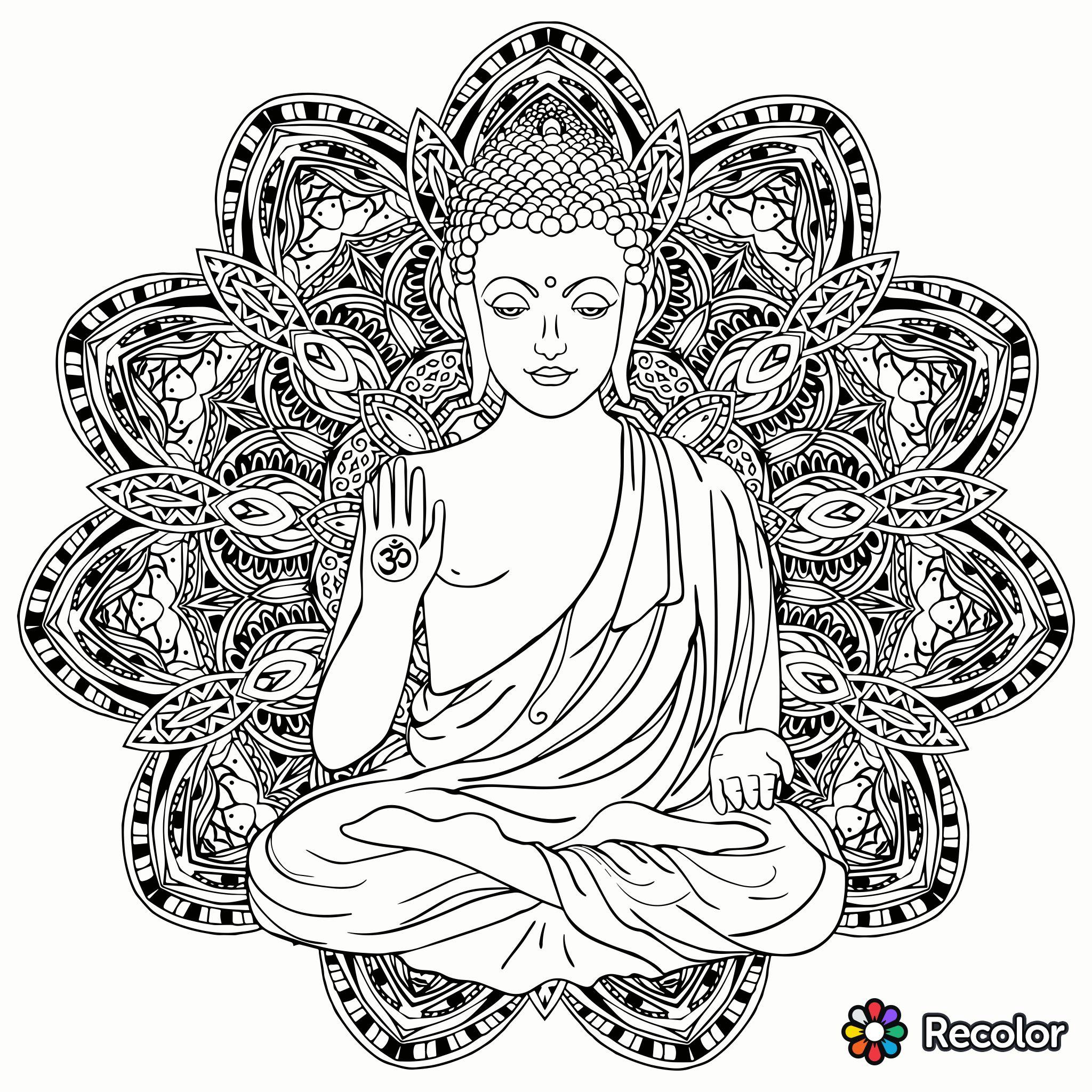 Buddha Kopf Malvorlage