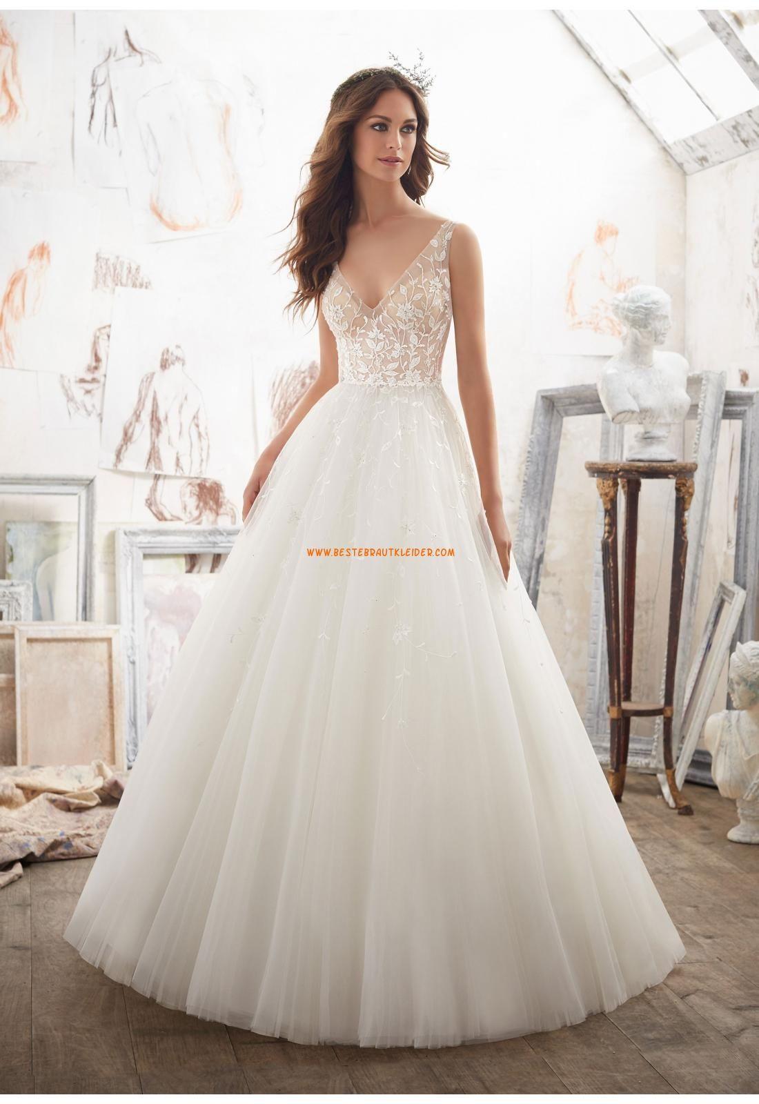 A-linie V-ausschnitt Romantische Brautkleider aus Organza mit ...
