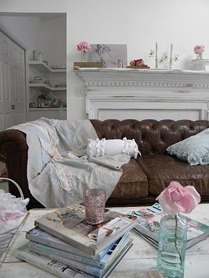 Brown Leather Shabby Chic Bursts Of Color Practical