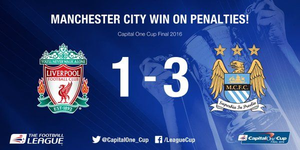 Capital One Cup @CapitalOne_Cup  8m8 minutes ago Here's the result: Willy Caballero is the man of the moment as @MCFC win the #CapitalOneCupFinal on penalties.