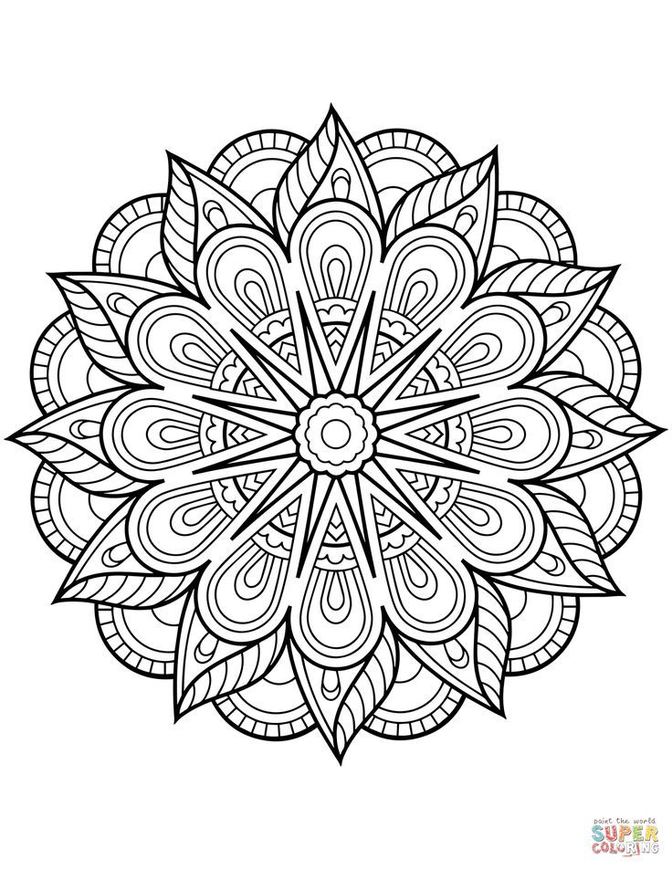 Flower Mandala Coloring Page Free Printable Coloring Pages Flower Coloring Pages Mandala Coloring Books Mandala Coloring Pages