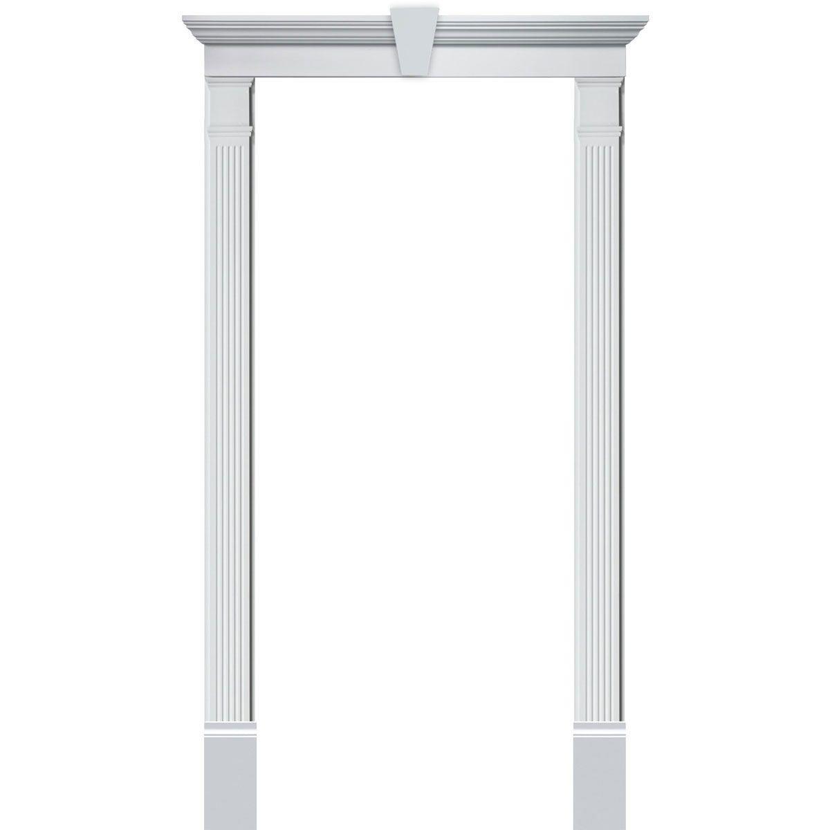 Single Door Surround Kit With Crosshead W Keystone Wood Exterior Door Door Molding Kit Door Trims