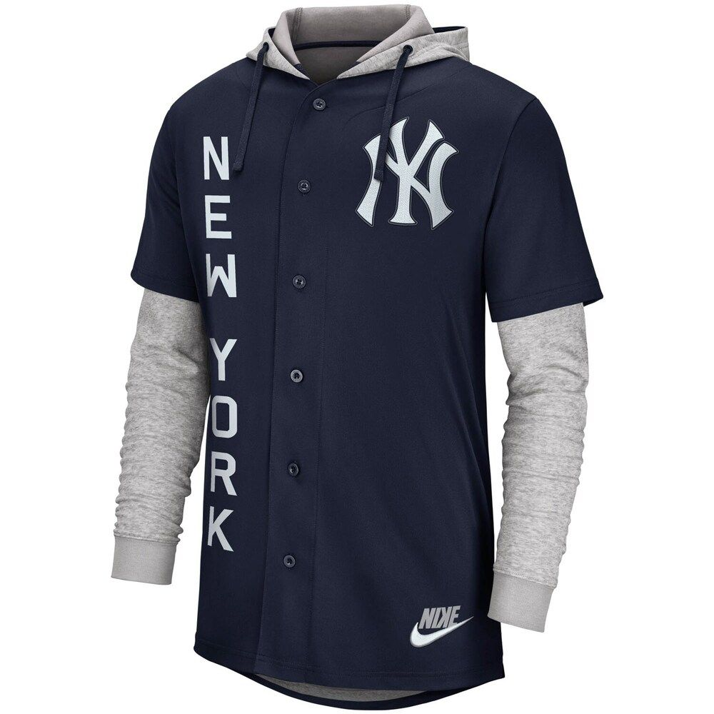 Men S Nike Navy New York Yankees Jersey Button Up Hoodie New York Yankees Sports Team Apparel Nike Men
