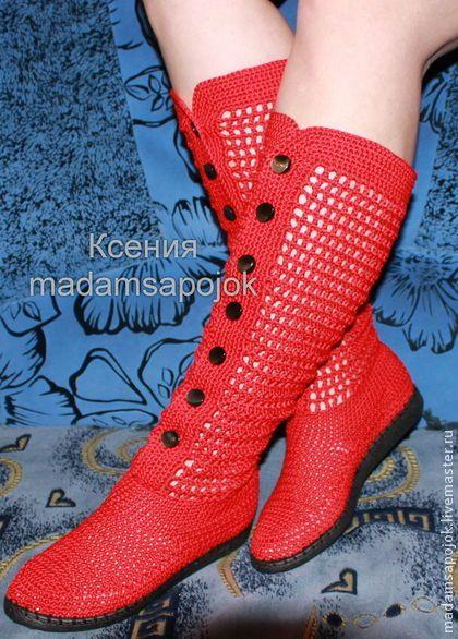 Вязаные сапоги ( хлопок) для улицы - ярко-красный,вязаная обувь,Вязаные сапоги