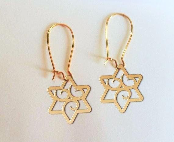 Jewish Star Earrings Jewelry Presents Gift Bat Mitzvah Of David Necklace Bar
