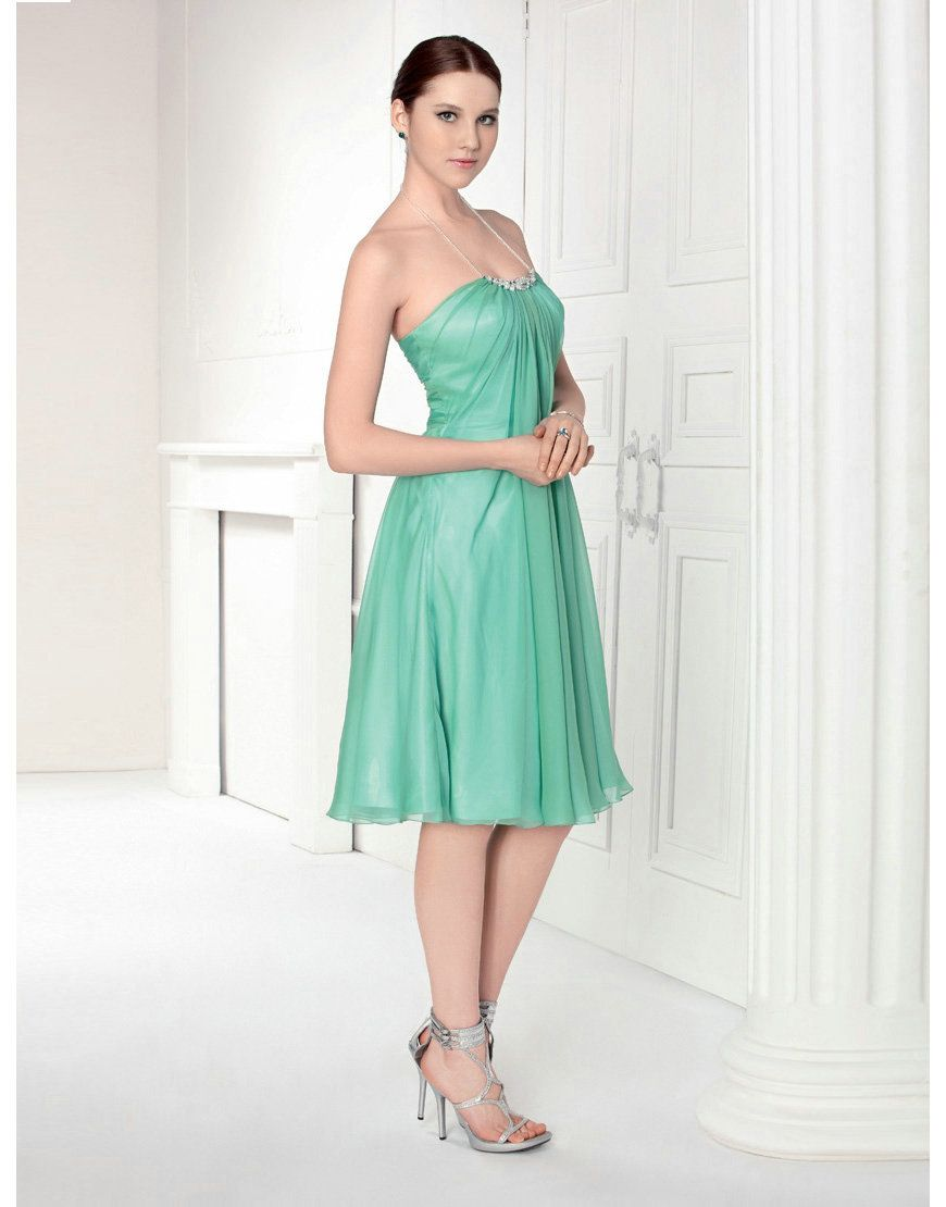 Halter ruched beading empire knee length green prom dress stores in