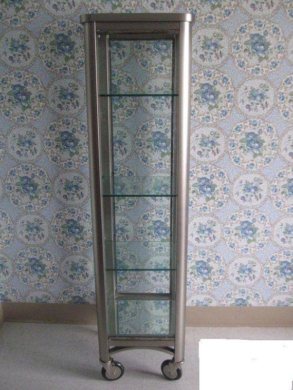 Vintage Ethan Allen Radius Curio Cabinet Brushed Stainless Nickel Display